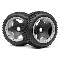 HPI  DIRT BUSTER BLOCK TIRE HD COMPOUND ON BLACK WHEEL