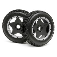 HPI DIRT BUSTER RIB TIRE M COMPOUND ON BLACK WHEEL