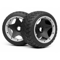 HPI MOUNTED TARMAC BUSTER RIB TIRE M COMPOUND (REAR)