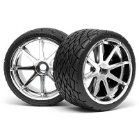 HPI MOUNTED PHALTLINE TIRE 140x70mm on BLAST WHEEL CHROME