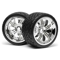 HPI MOUNTED PHALTLINE TIRE 140x70mm on TREMOR WHEEL CHROME